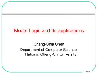 Modal Logic and Its applications
