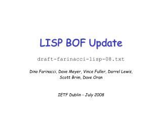 LISP BOF Update