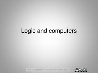 Logic and computers