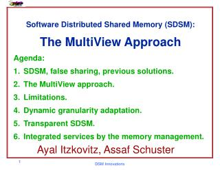 Software Distributed Shared Memory (SDSM): The MultiView Approach Agenda: