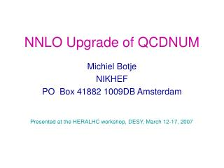 NNLO Upgrade of QCDNUM