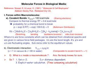 Molecular Forces in Biological Media:
