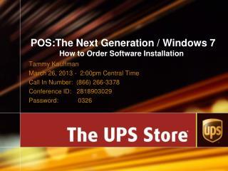 POS:The Next Generation / Windows 7 How to Order Software Installation