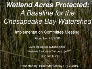 Wetland Acres Protected: A Baseline for the Chesapeake Bay Watershed
