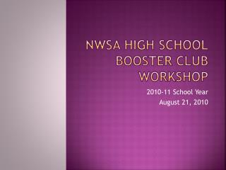 NWSA High School Booster Club Workshop