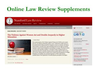 Online Law Review Supplements