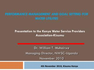 Performance Management and goal setting for water utilities
