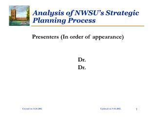 Analysis of NWSU's Strategic Planning Process