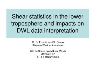 Shear statistics in the lower troposphere and impacts on DWL data interpretation