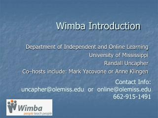 Wimba Introduction