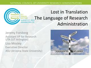 Lost in Translation The Language of Research Administration