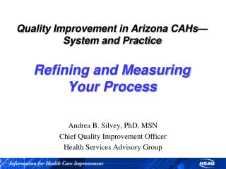 Quality Improvement in Arizona CAHs System and Practice  Refining and Measuring  Your Process