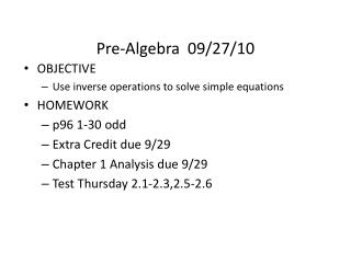 Pre-Algebra  09/27/10