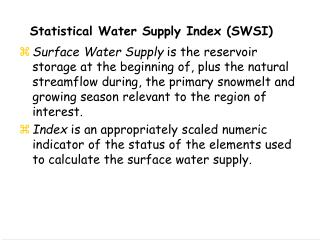 Statistical Water Supply Index (SWSI)