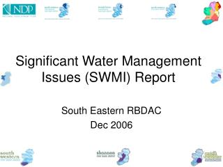 Significant Water Management Issues (SWMI) Report