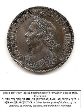 British half-crown 1658, bearing head of Cromwell in classical style. Inscription: OLIVAR[IVS] D[EI] G[RATIA] R[EI]P[VBL