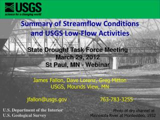 Summary of Streamflow Conditions  and USGS Low-Flow Activities