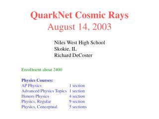 QuarkNet Cosmic Rays August 14, 2003