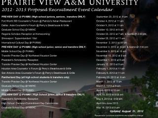 2012- 2013 Proposed Recruitment Event Calendar