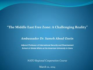 """The Middle East Free Zone: A Challenging Reality"" Ambassador Dr. Sameh Aboul-Enein"