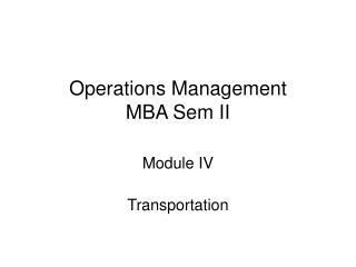 Operations Management MBA Sem II