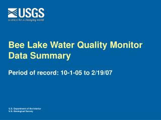 Bee Lake Water Quality Monitor Data Summary