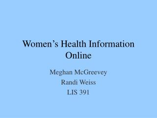 Women's Health Information Online