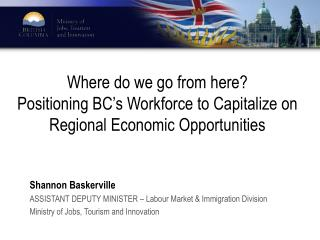 Shannon Baskerville ASSISTANT DEPUTY MINISTER – Labour Market & Immigration Division