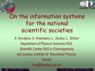 On the information systems for the national  scientific societies