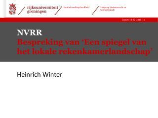 NVRR Bespreking van 'Een spiegel van het lokale rekenkamerlandschap'