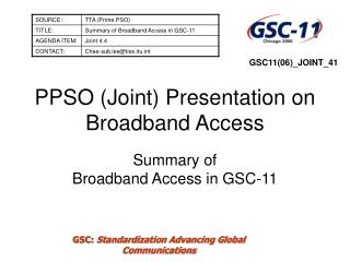 PPSO (Joint) Presentation on Broadband Access