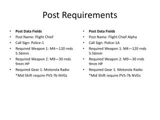 Post Requirements