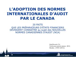L'ADOPTION DES NORMES INTERNATIONALES D'AUDIT PAR LE CANADA