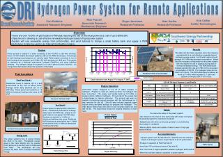 Hydrogen Power System for Remote Applications