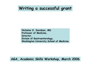Writing a successful grant