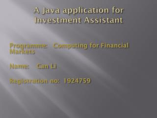 A Java application for Investment Assistant