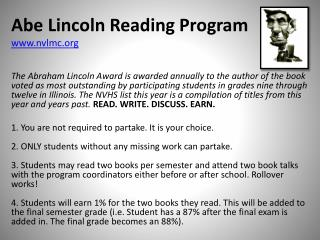 Abe Lincoln Reading Program nvlmc