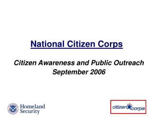Citizen Awareness and Public Outreach September 2006