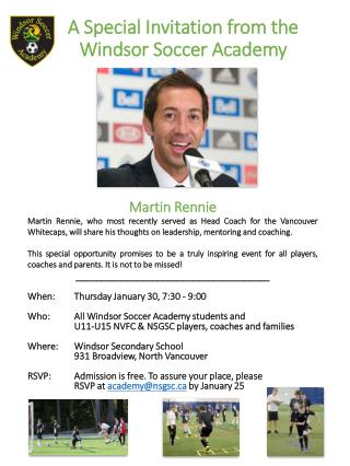 A Special Invitation from the Windsor  Soccer  Academy