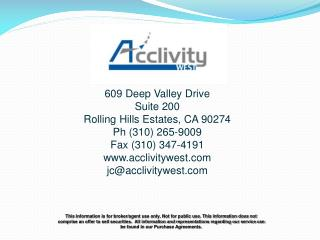 609 Deep Valley Drive Suite 200 Rolling Hills Estates, CA 90274 Ph (310) 265-9009