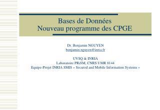 Bases de Données Nouveau programme des CPGE