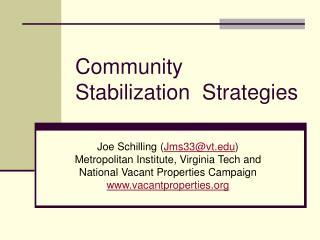 Community Stabilization  Strategies
