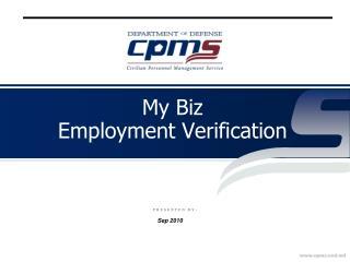 My Biz  Employment Verification