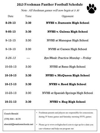 2013 Freshman Panther Football Schedule Note: All freshman games will now begin at 3:30