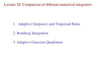 Lecture 28: Comparison of different numerical integrators