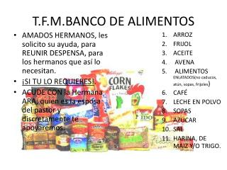 T.F.M.BANCO DE ALIMENTOS