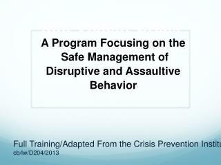 Non Violent Crisis Intervention