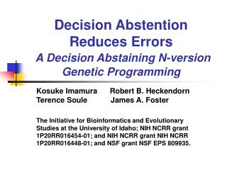 Decision Abstention Reduces Errors A Decision Abstaining N-version Genetic Programming