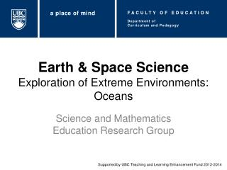 Earth & Space Science Exploration of Extreme Environments: Oceans