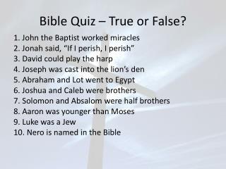 Bible Quiz – True or False?